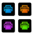 glowing neon printer icon isolated on white vector image vector image