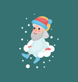 god character sitting on white cloud with snow vector image vector image