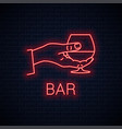 hand hold cognac neon sign male brandy glass vector image vector image