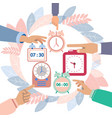 hands turn off alarms vector image