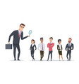 hiring concept hr manager looking for employees vector image vector image