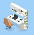 isometric contemporary workspace interior modern vector image