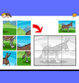 jigsaw puzzles with donkey farm animal character vector image vector image