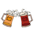 light and dark beer mugs or glasses hand drawn vector image