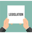 man showing paper legislation text vector image