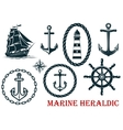 Marine and nautical heraldic elements vector image vector image