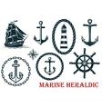 Marine and nautical heraldic elements vector image