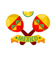 mexican musical crossed maracas logotype in flat vector image