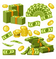 money banknotes and golden coins bank dollars and vector image vector image