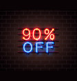 neon 90 off text banner night sign vector image vector image