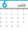 planning calendar June 2016 vector image vector image