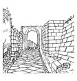 pompeii a view of a portion of the paved street vector image vector image
