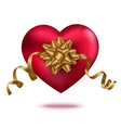Red heart with gold ribbon and bow vector image vector image
