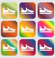 Running shoe icon sign Nine buttons with bright vector image
