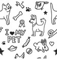 seamless background with drawing pets vector image vector image