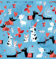 seamless bright pattern enamored dogs vector image