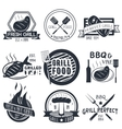 set of grill and bbq labels in vintage vector image