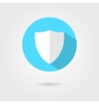 shield icon in blue circle with shadow vector image vector image