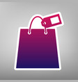 shopping bag sign with tag purple vector image vector image
