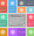 snowflake icon sign Set of multicolored buttons vector image