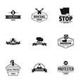social riot logo set simple style vector image