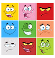 square cartoon emoticons collection -1 vector image vector image