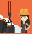steelworker in hardhat at work in the foundry vector image vector image