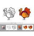 thanksgiving day turkey line icon editable stroke vector image vector image