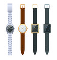 time on a wrist watch set of men s watches vector image