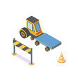 tractor working machinery and road signs icons vector image vector image