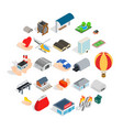 urban infrastructure icons set isometric style vector image vector image