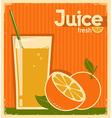 vintage poster of orange juice on old paper vector image vector image