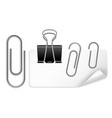 white paper holder and clip black and silver vector image