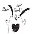 with joyful rabbit who says - follow vector image vector image