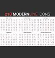 210 modern red black thin line icons set of vector image vector image