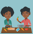 african woman cooking healthy vegetable meal vector image