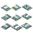 airport terminal architecture isometric set vector image