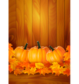 background with three pumpkins and colorful leaves vector image