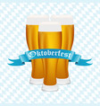 beer at oktoberfest in bavarian background vector image