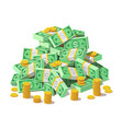 big pile cash money banknotes and gold coins vector image vector image