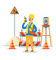 builder engineer phone calling on construction vector image