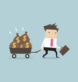 businessman walking with a trolley full of money vector image