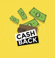 cash back icon isolated on yellow background vector image vector image