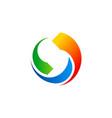 circle colored technology arrow logo vector image vector image