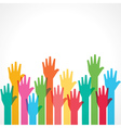 colorful up hand background vector image vector image