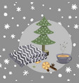 cozy hygge christmas things on seamless doodle vector image vector image