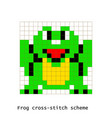 cross-stitch pixel art frog animals set vector image vector image