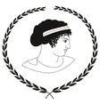 Decorative logo with head of ancient Greek women vector image vector image