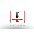 e logo letters with red and black colors and vector image vector image