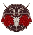 emblem with goat skull vector image vector image